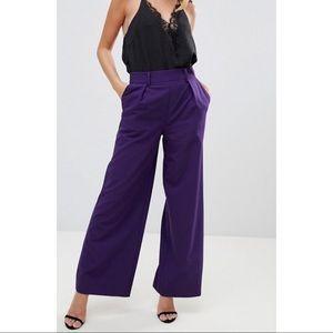 Asos Pleated Wide Leg High Waist Pants Purple Sz 4
